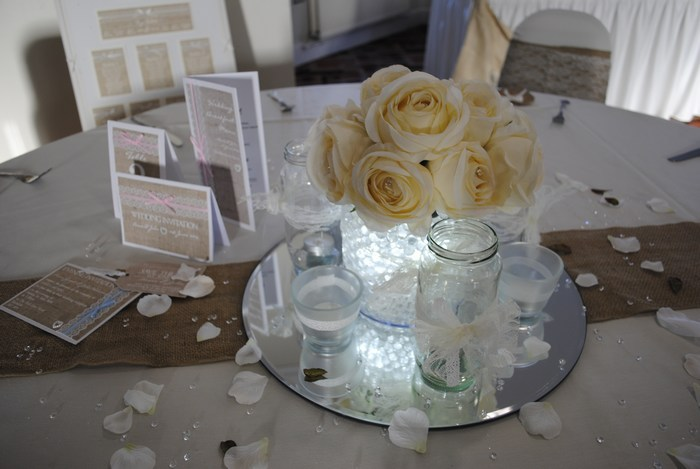 Short Cylinder with cream rose posy