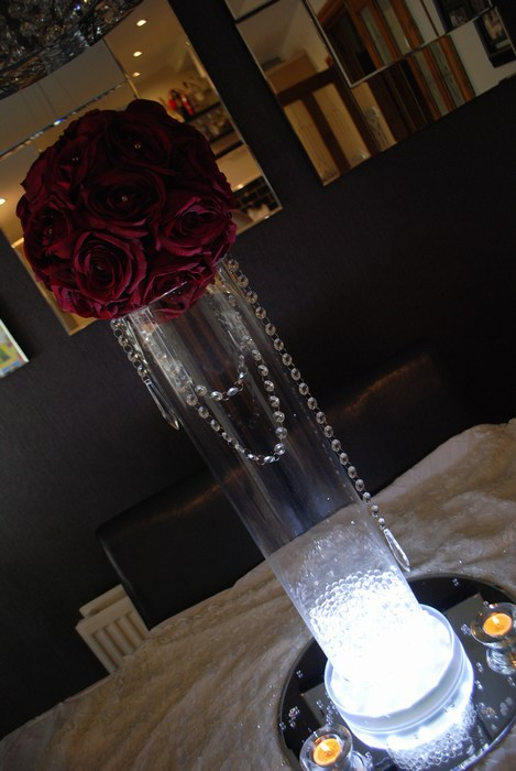 Tall Cylinder vase with red rose ball & diamante garlands