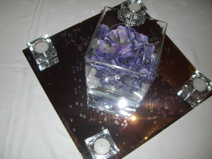 Square vase with purple hydrangea