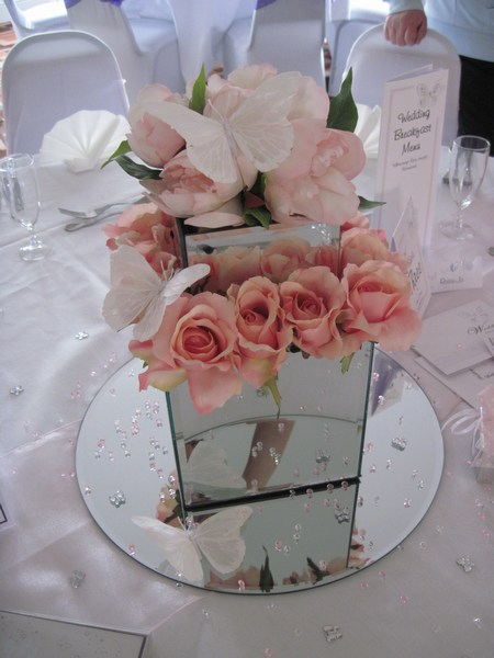 Mirror square with pink peonies & pink roses