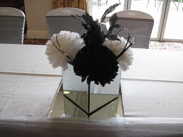 Mirror square with black & white pompoms