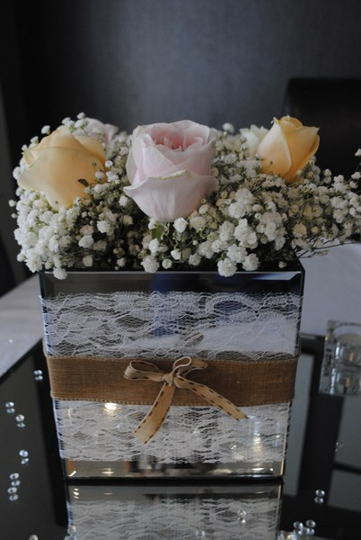Mirror Square with burlap and lace decor and fresh roses with gyp