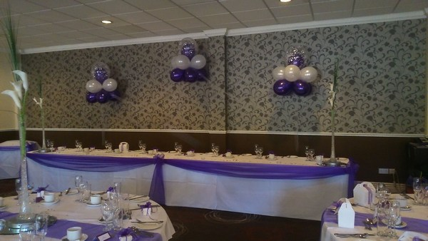 Cloud 9 in purple & white behind top table
