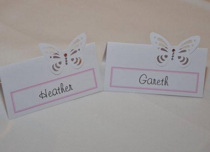 Vellum Butterfly table name cards