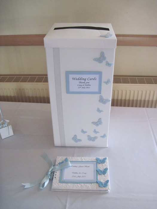 Vellum Butterfly wedding card post box & guest book