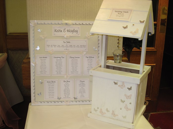 Vellum Butterfly Table plan and wishing well hire