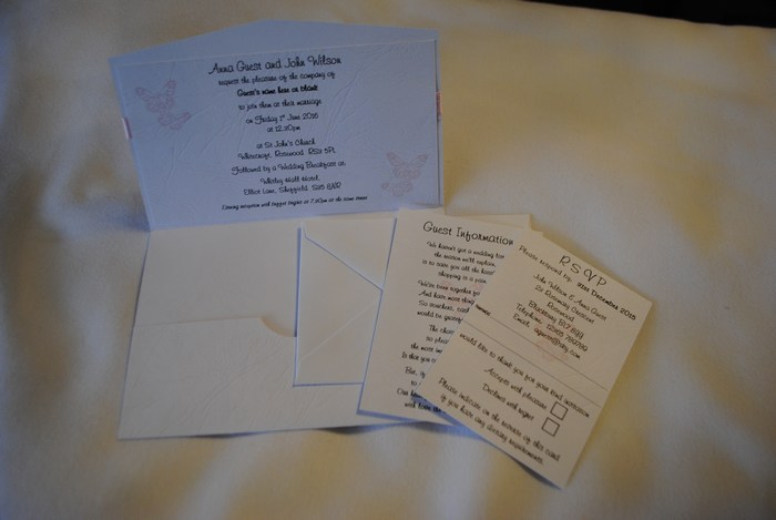 Vellum Butterfly pocket fold day invitation inside view