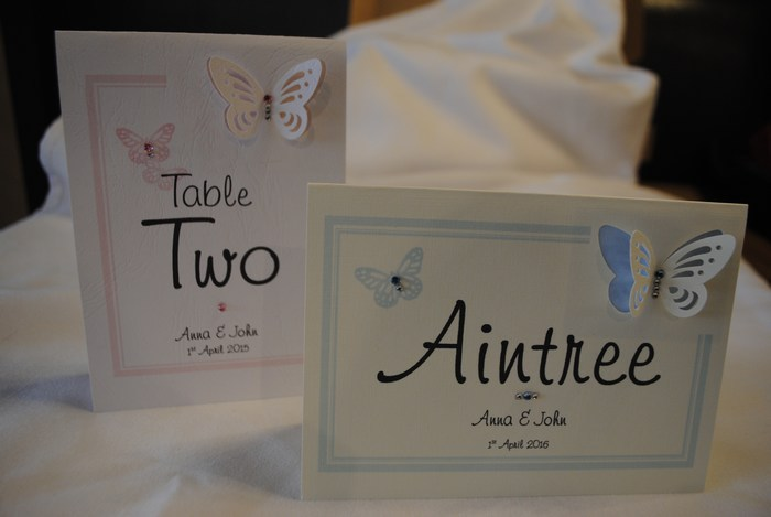 Vellum Butterfly table numbers