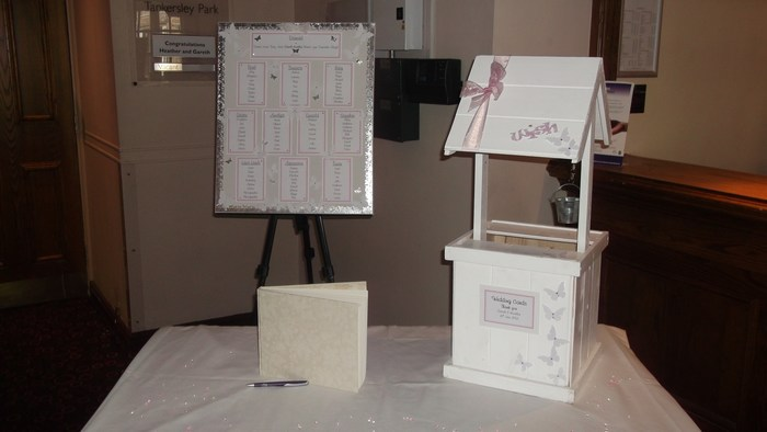 Blooming Butterfly table plan and wooden wishing well hire