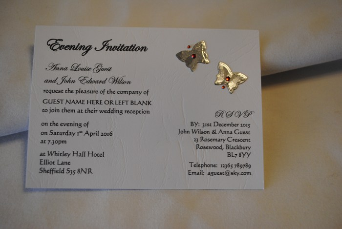 Blooming Butterfly evening invitation