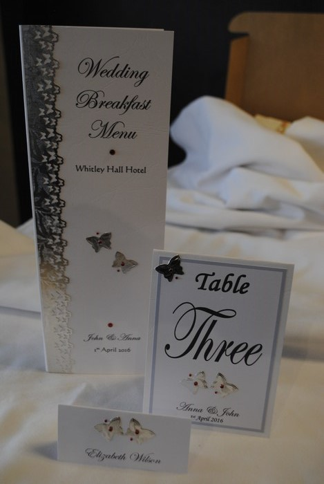 Blooming Butterfly, menu, table number, name card