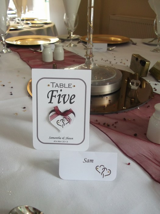 Entwined hearts table number & name card
