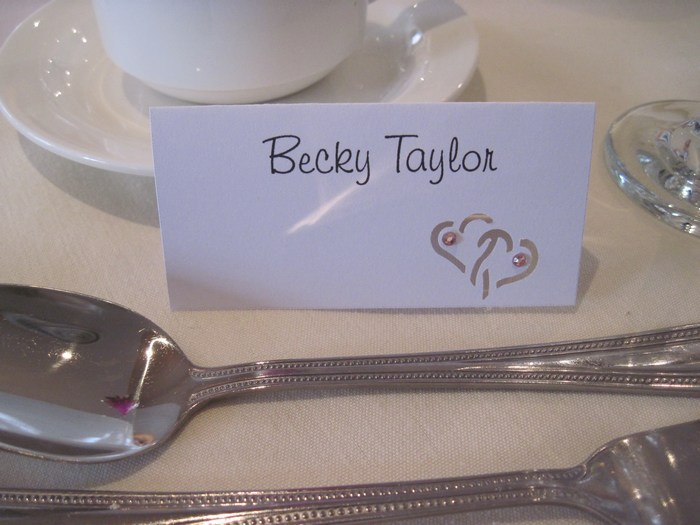 Entwined hearts name card
