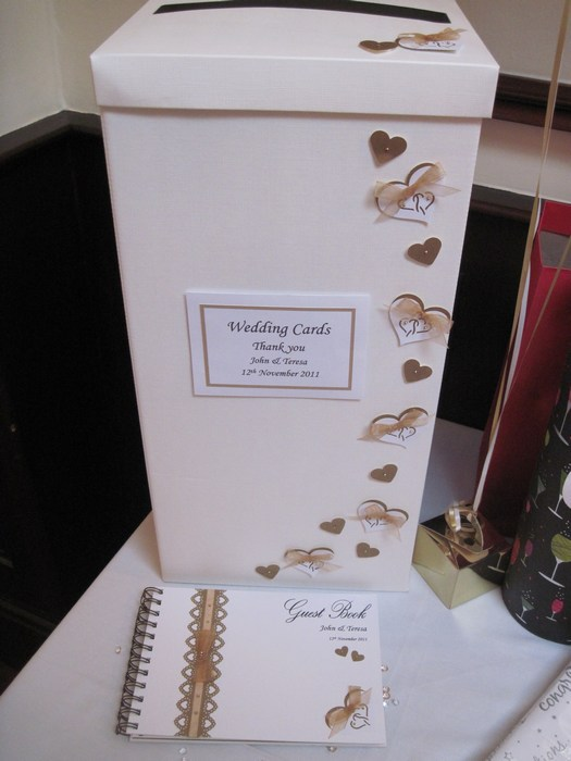 Entwined hearts wedidng card post box & guest book