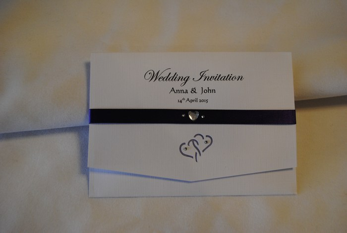 Entwined hearts pocket fold day invitation