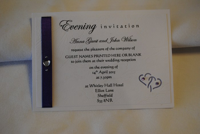 Entwined hearts double mounted evening invitation