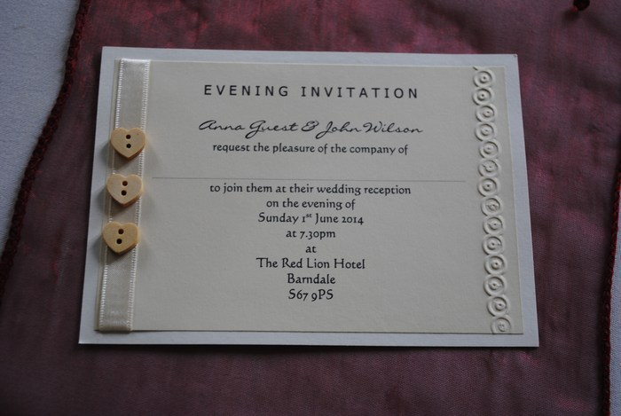 Wooden heart button double mounted evening invitation