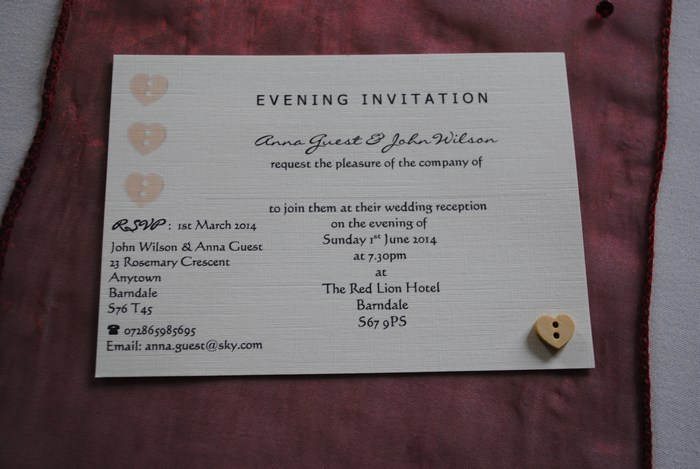 Wooden heart button single mounted evening invitation
