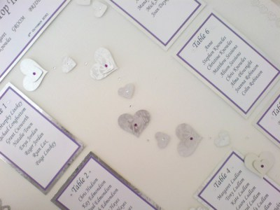 Loveheart table plan, close view