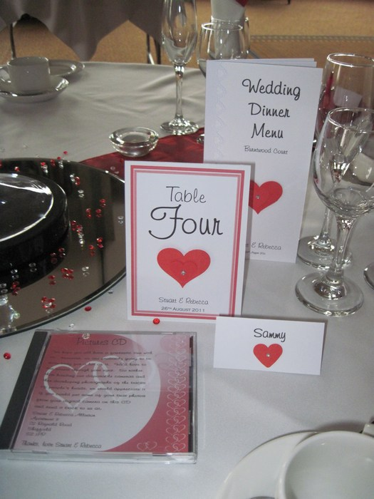 Loveheart Table Number