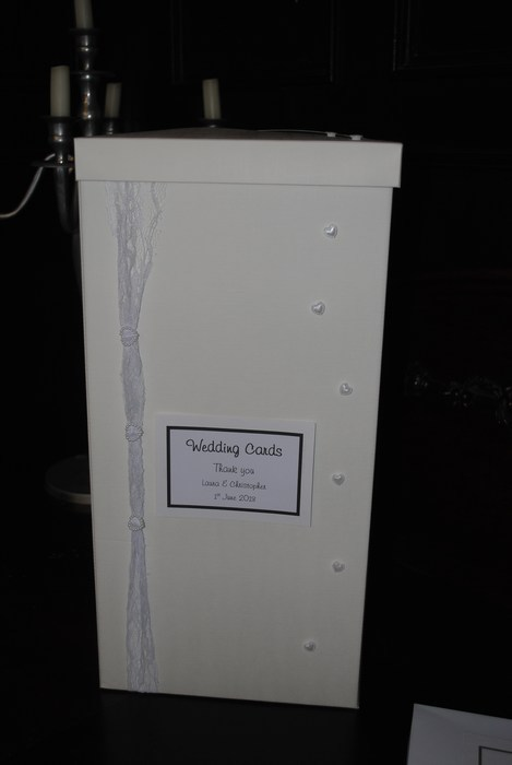 Lovely Lace wedding card post box in white