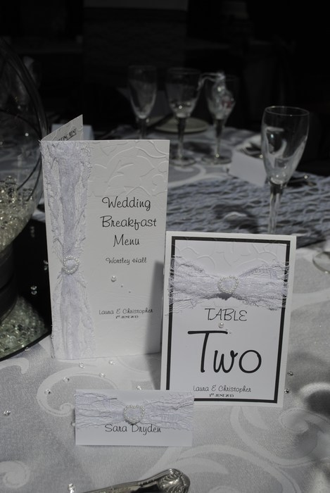 Lovely Lace menu, name card and table number in white