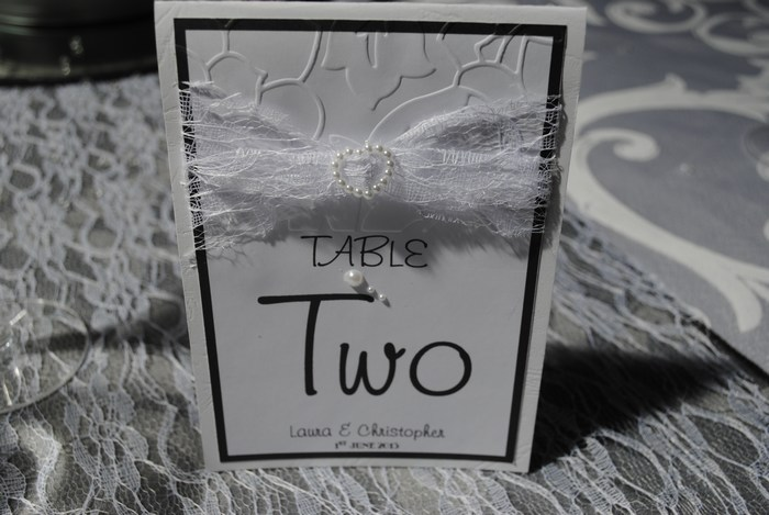 Lovely Lace table number in white