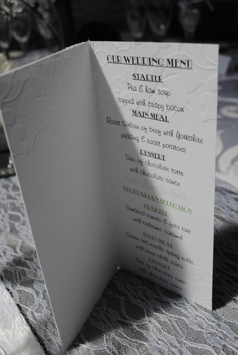 Lovely Lace menu in white, inside view