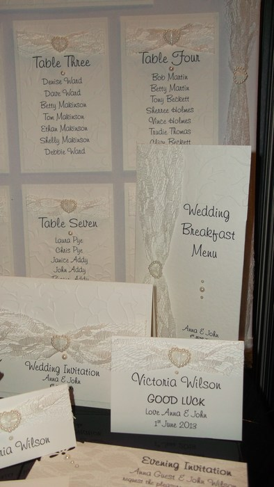Lovely Lace menu, name card guest book in Ivory