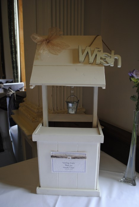 Lovely Lace wooden wishing well hire