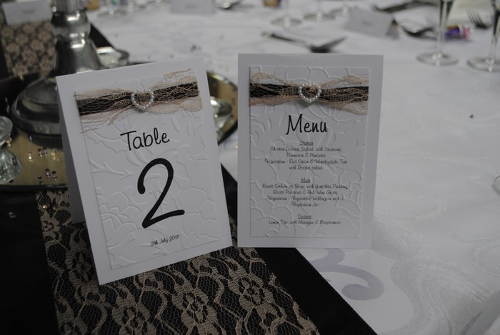 Lovely Lace table number with menu on reverse, in champagne lace & purple satin underlay