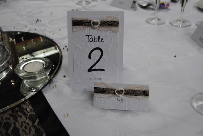 Lovely Lace table number and name card, in champagne lace & purple satin underlay