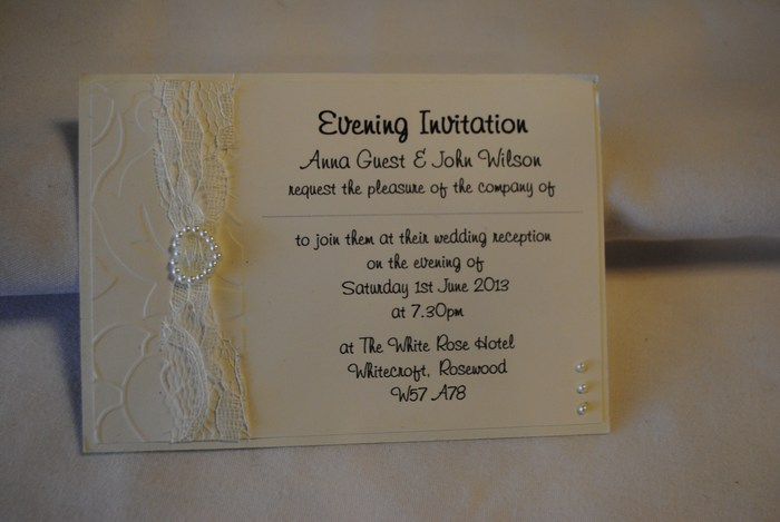 Lovely Lace double mounted postcard evening invitation