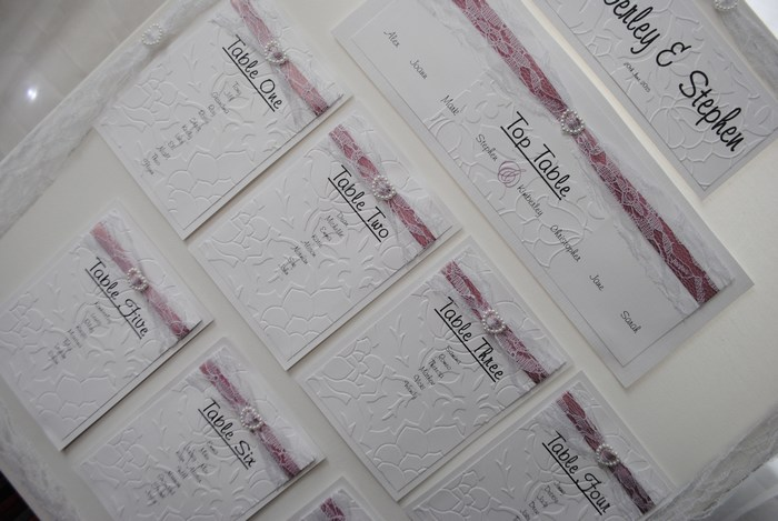 Lovely Lace table plan in white with dusky pink satin ribbon underlay, close view