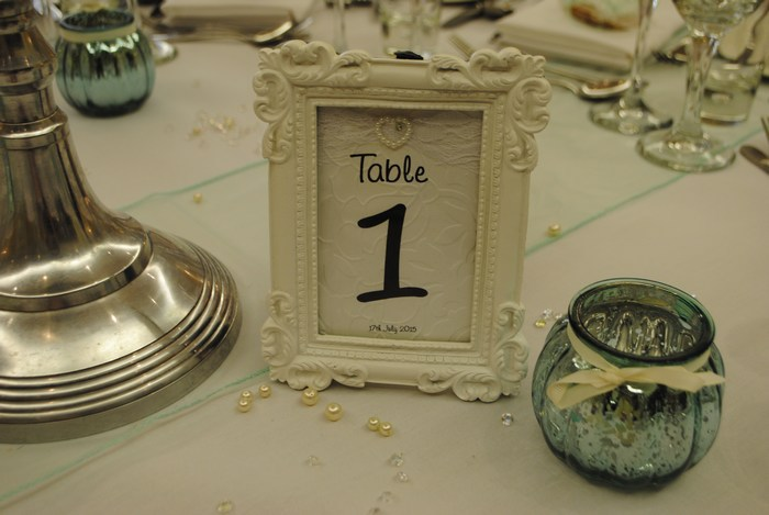 Lovely Lace Framed Table Number