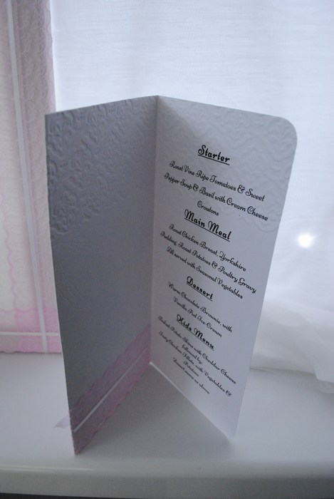 Chantilly Lace Menu Inside