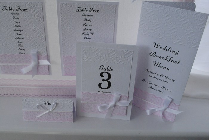 Chantilly Lace menu table number, name card