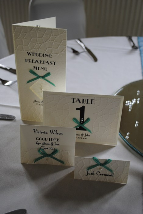 Lace bow menu, table number, name card, name card lotto scratch card holder