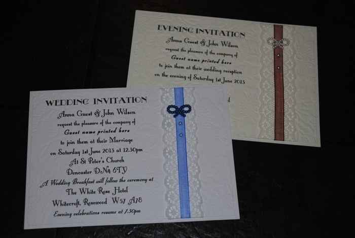 Victorian Lace Double mounted evening invitation