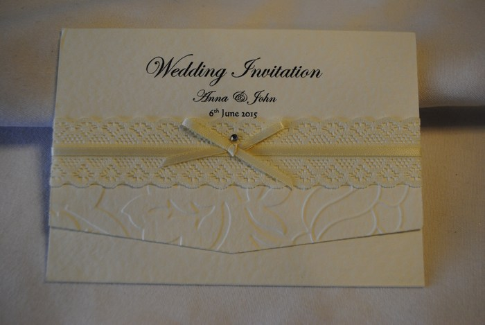 Victorian Lace pocket fold day invitation