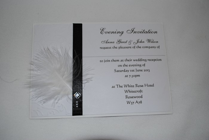Diamante Feather double mounted evening invitation