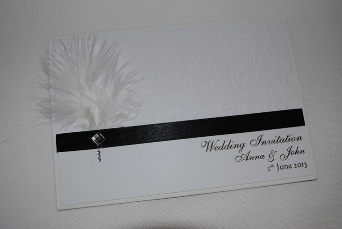 Diamante Feather standard day invitation