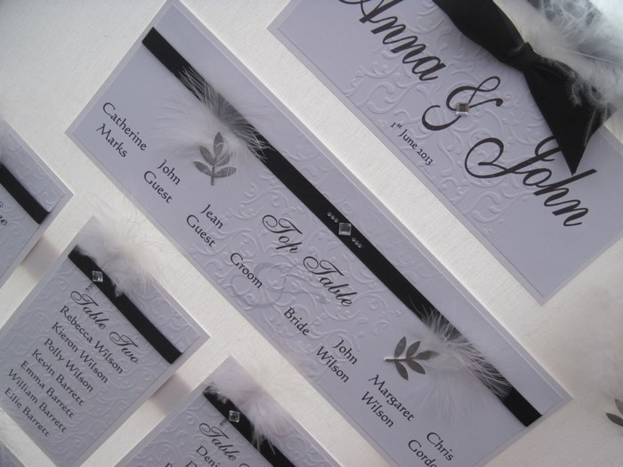 Diamante Feather table plan, close view