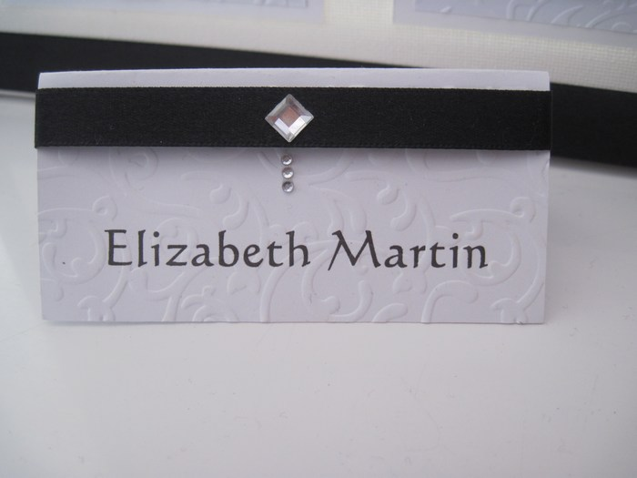Diamante Feather name card