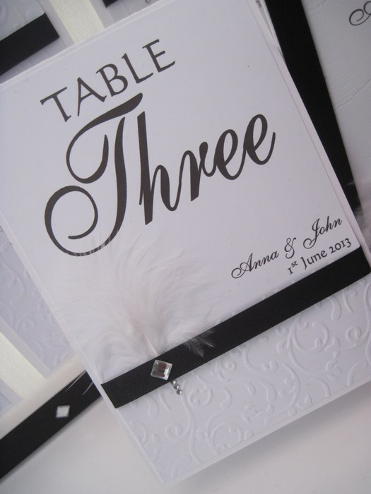 Diamante Feather Table Number