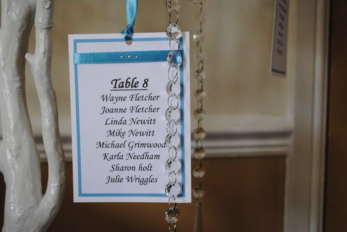 Ribbon & Diamante manzanita tree table plan, table square view