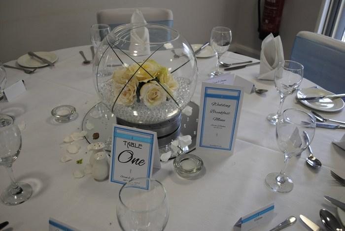 Ribbon & Diamante menu & table number