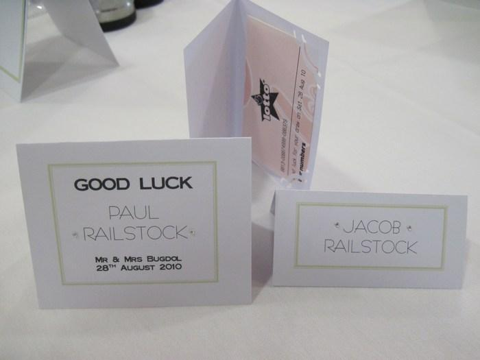 Ribbon & Diamante lottery ticket name card holders