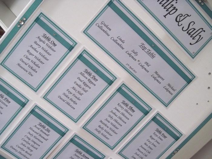 Ribbon & Diamante table plan, close view