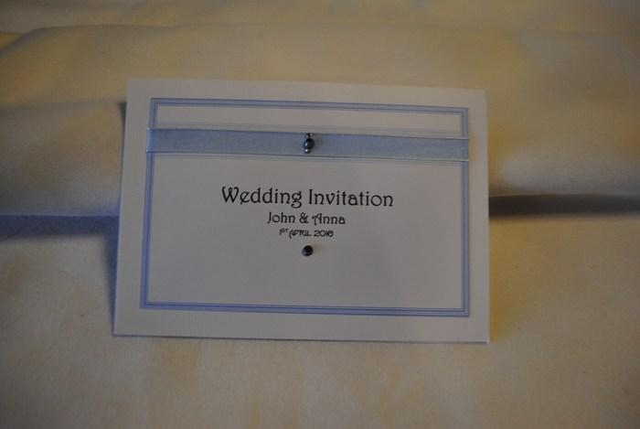 Ribbon & Diamante standard day wedding invitation